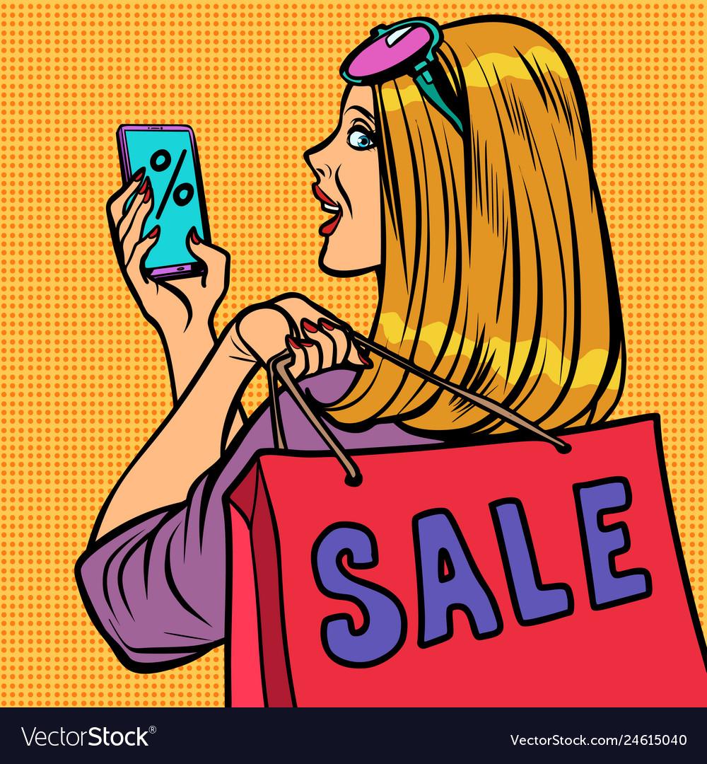 Woman buyer online shopping sale