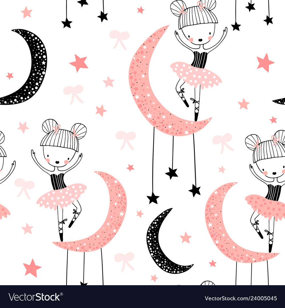 Childish seamless pattern with cute hand drawn