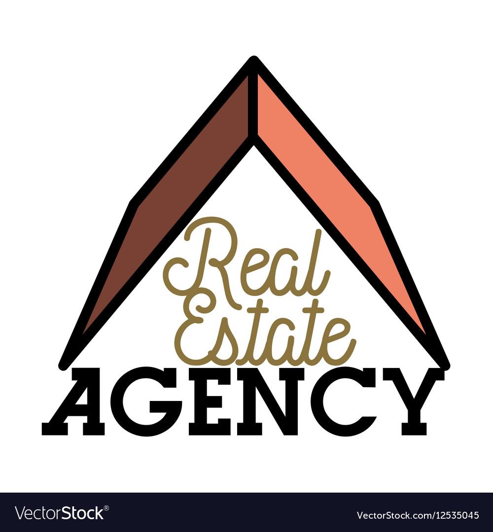 Color vintage real estate agency emblem