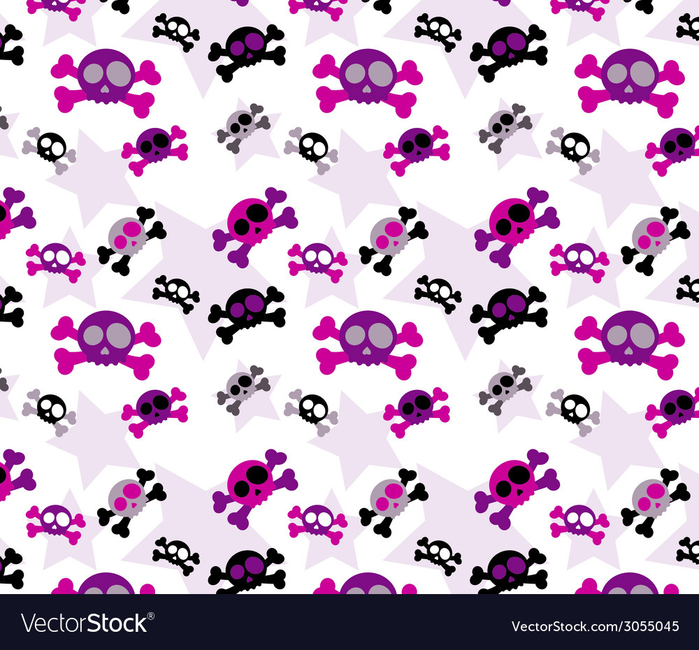 Girly Skull Background vector image