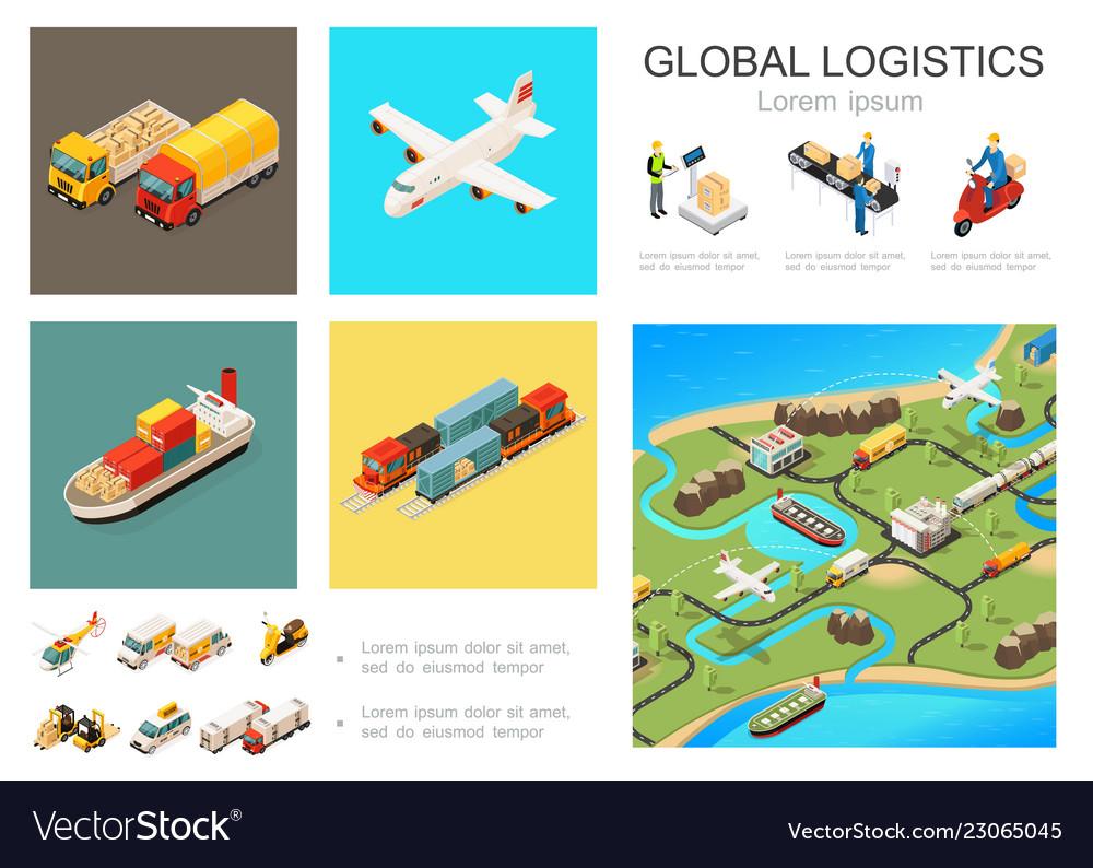 Isometric global logistics infographic concept