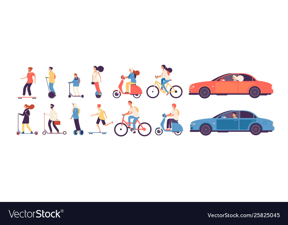 People riding man woman with electric vehicles