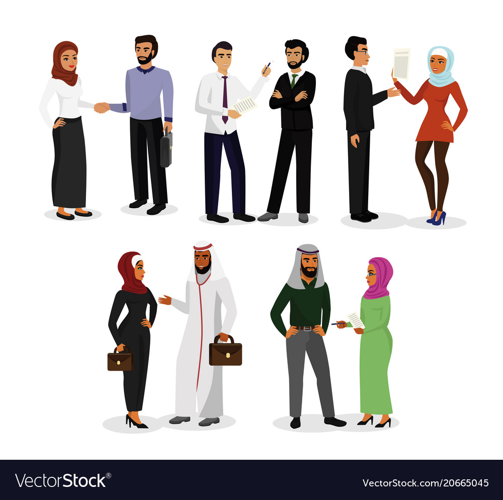 Set muslim men and women vector