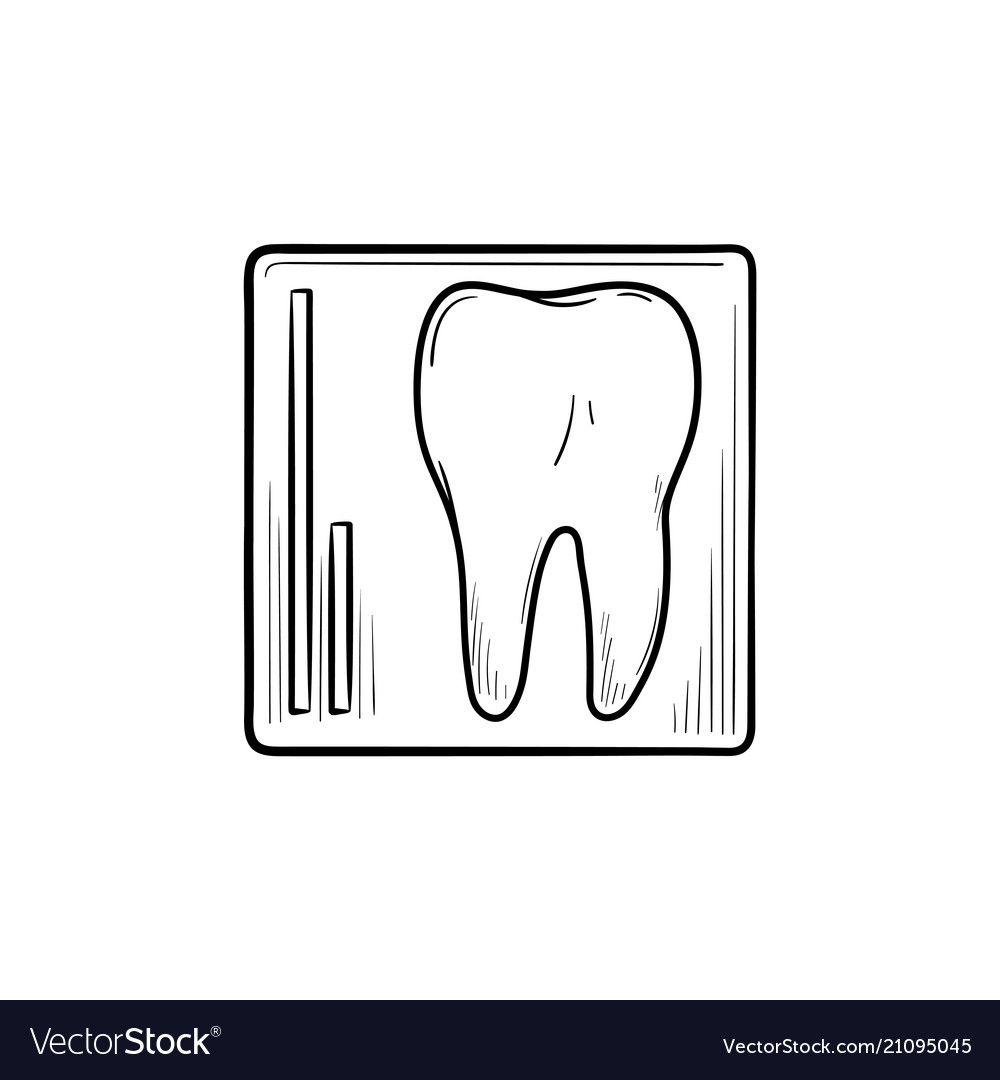 Tooth x-ray hand drawn outline doodle icon