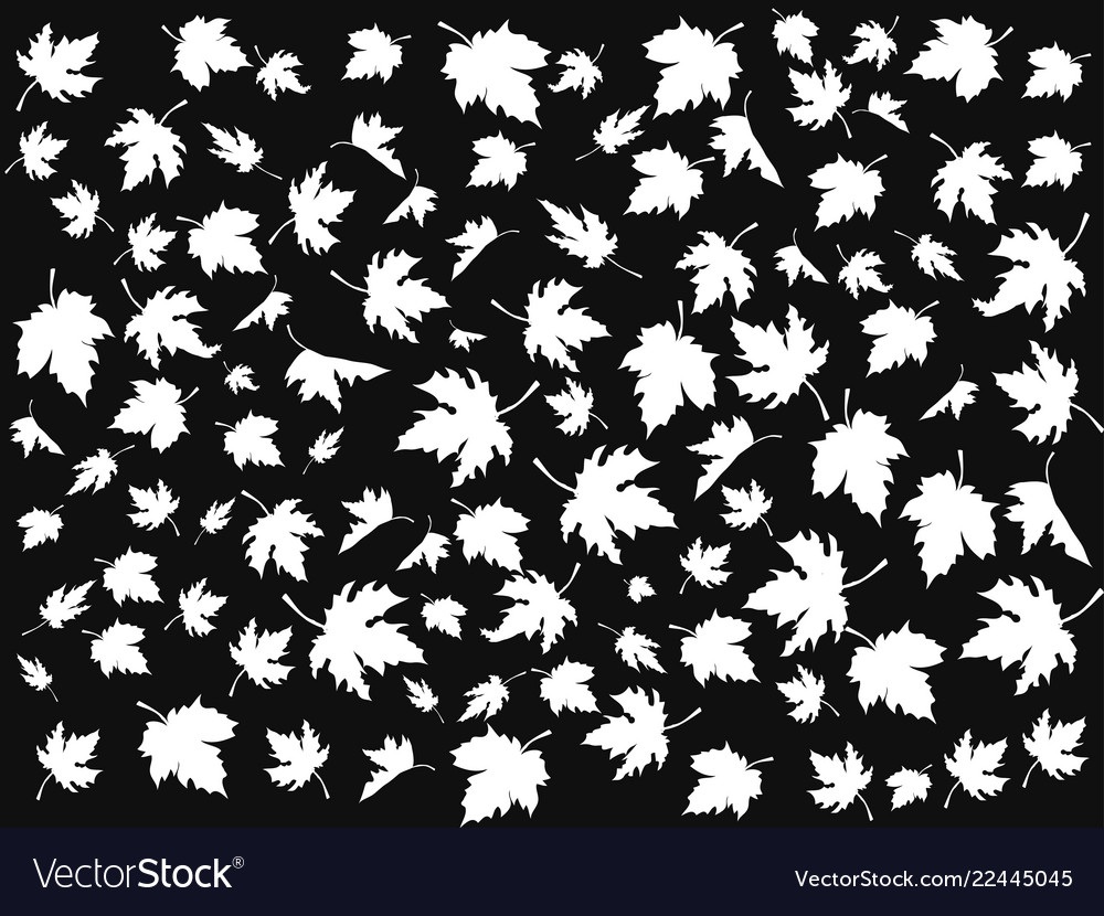 White maple seamless patterns on black background