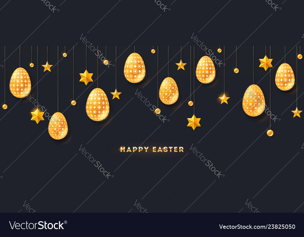 Greeting of happy easter golden stars and