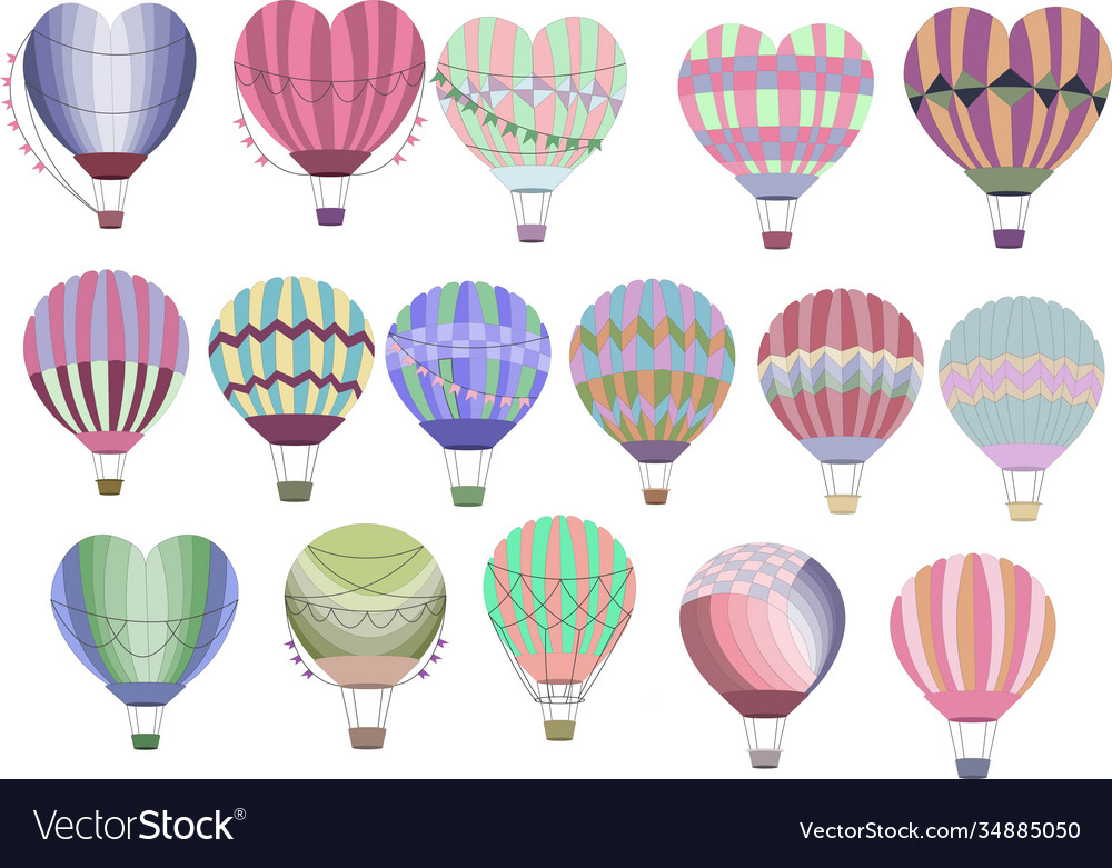 Hot air balloons collection set colorful balloons