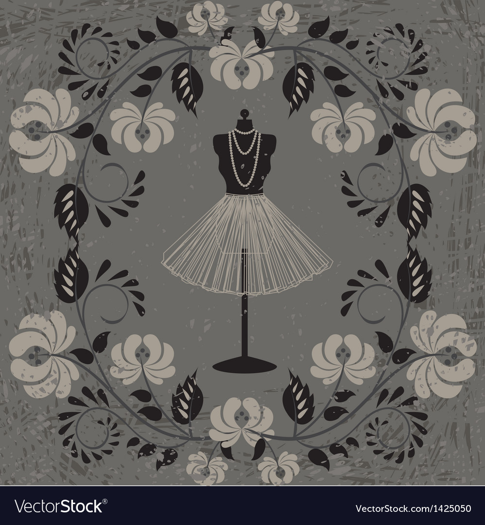 Mannequin and floral pattern vector image