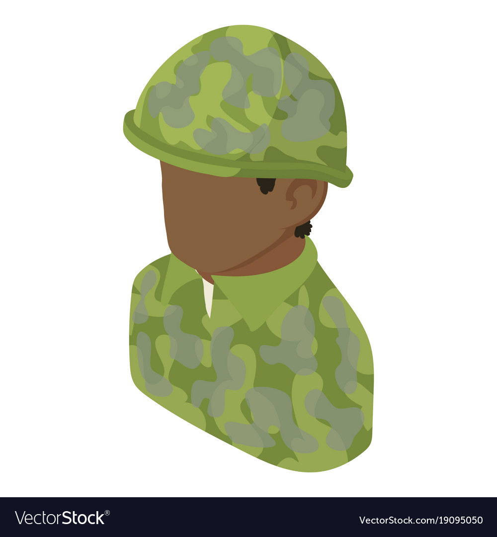 Military man african american icon isometric 3d