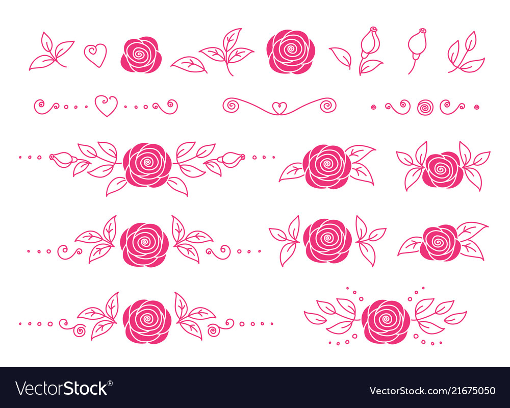 Set pink hand drawn roses flowers