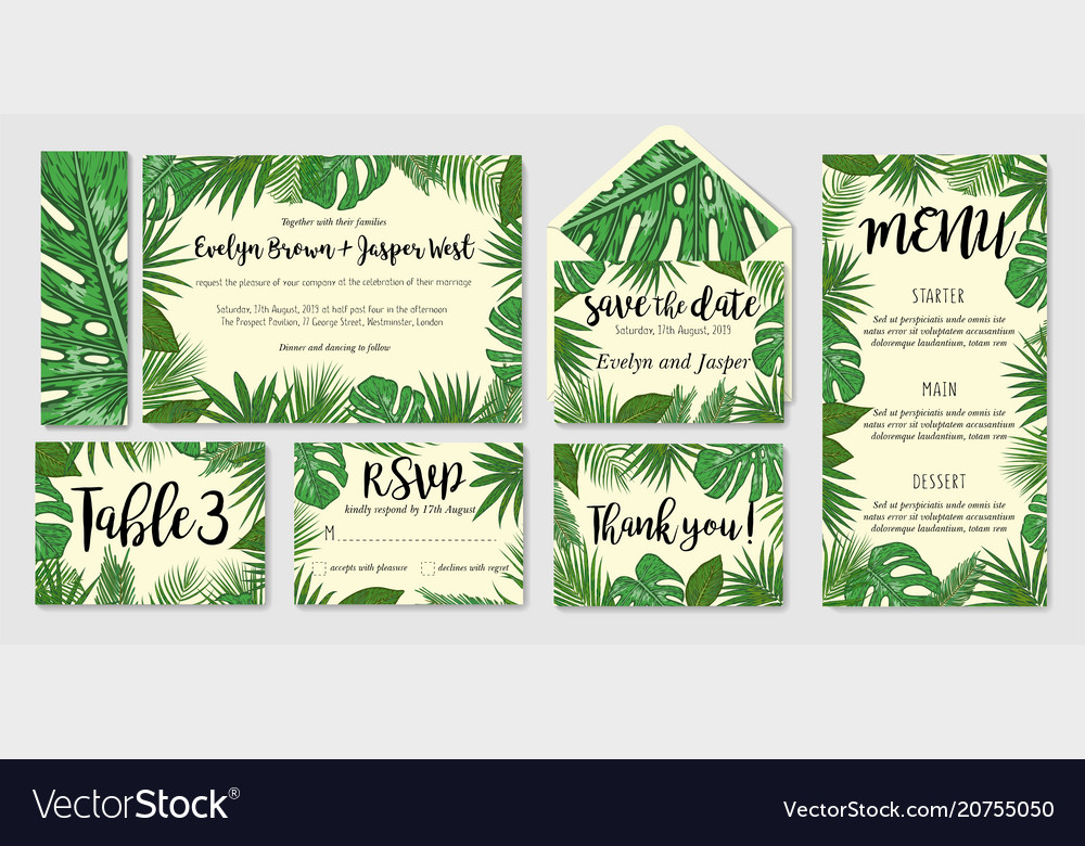 Template cards set with watercolor palm leaves