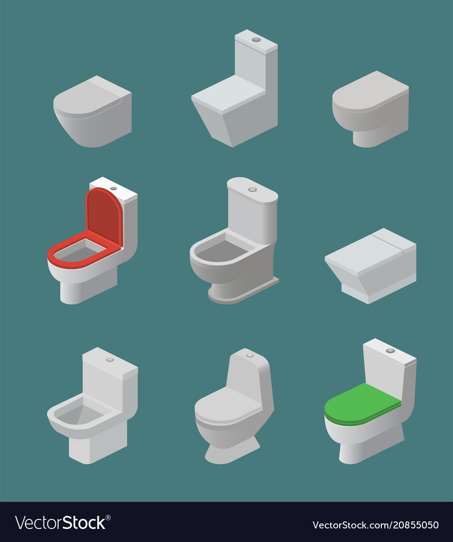 Toilet bowl and seat isometric icons