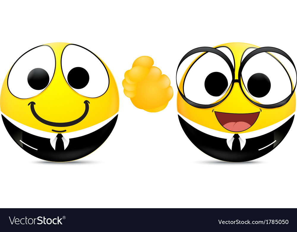 Two emoticons shaking hands