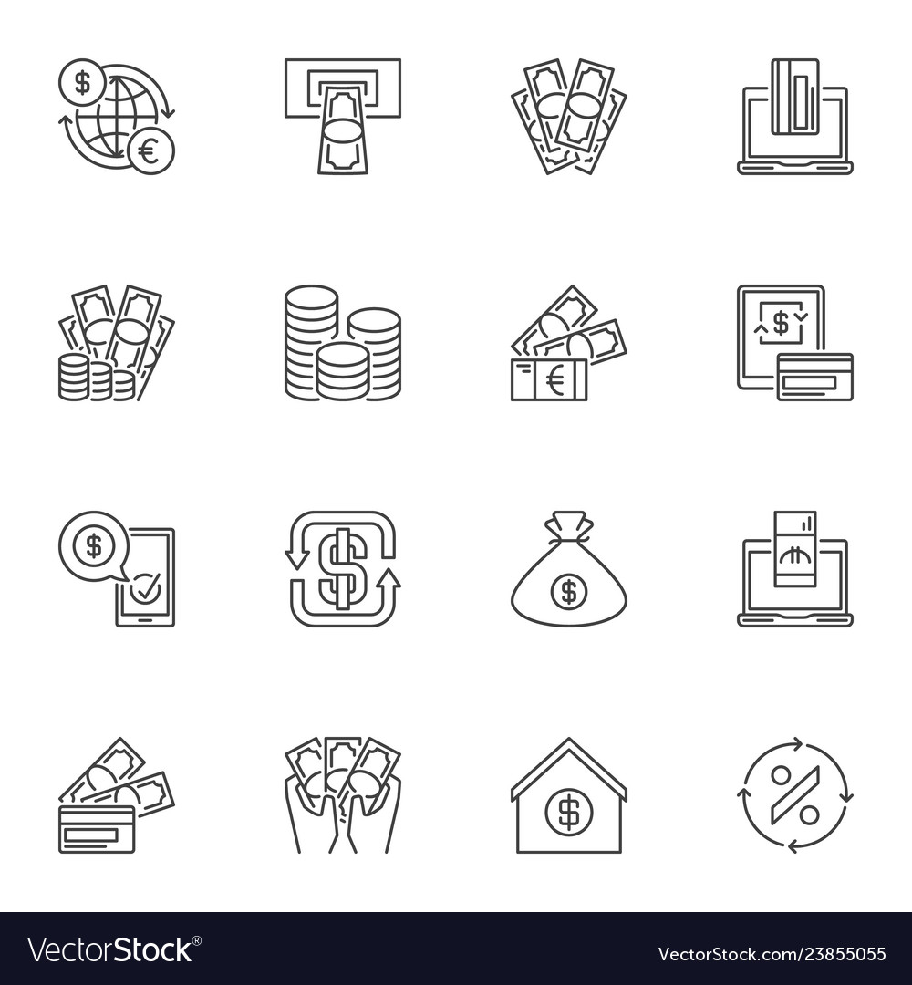 Collection of financial outline icons