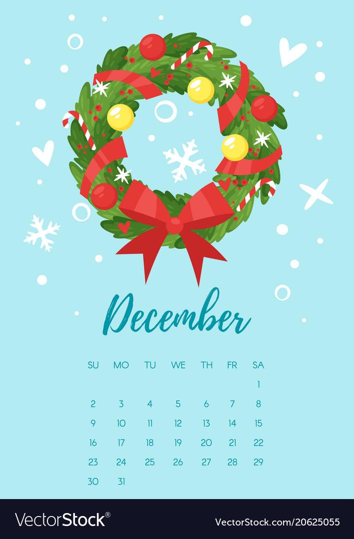 december 2018 year calendar page vector image