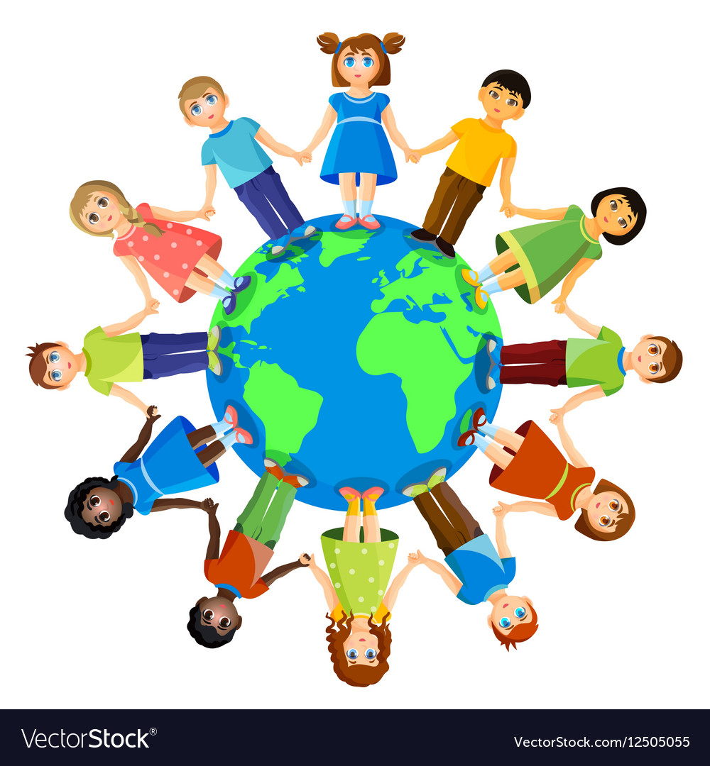 Different children standing around earth planet