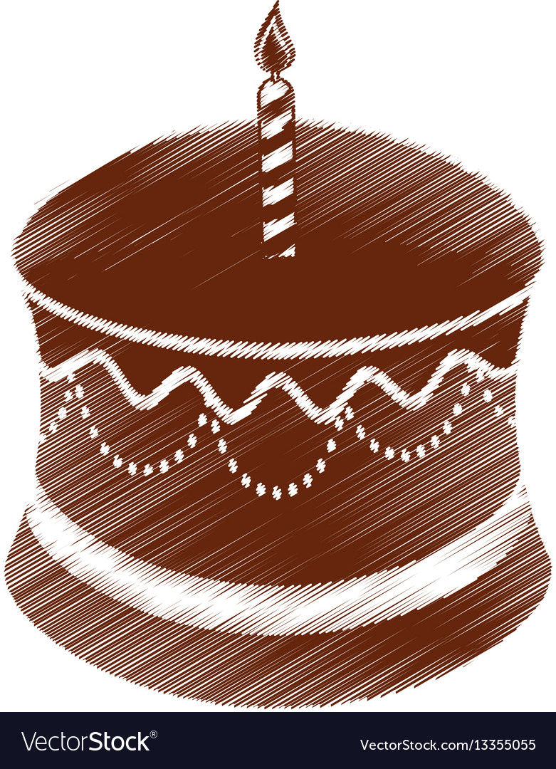 Drawing Birthday Chocolate Cake Candle Royalty Free Vector