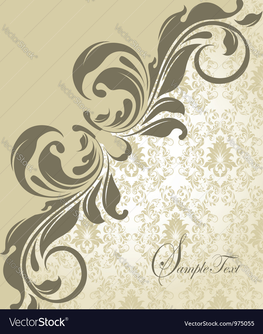 Elegant wedding damask invitation card