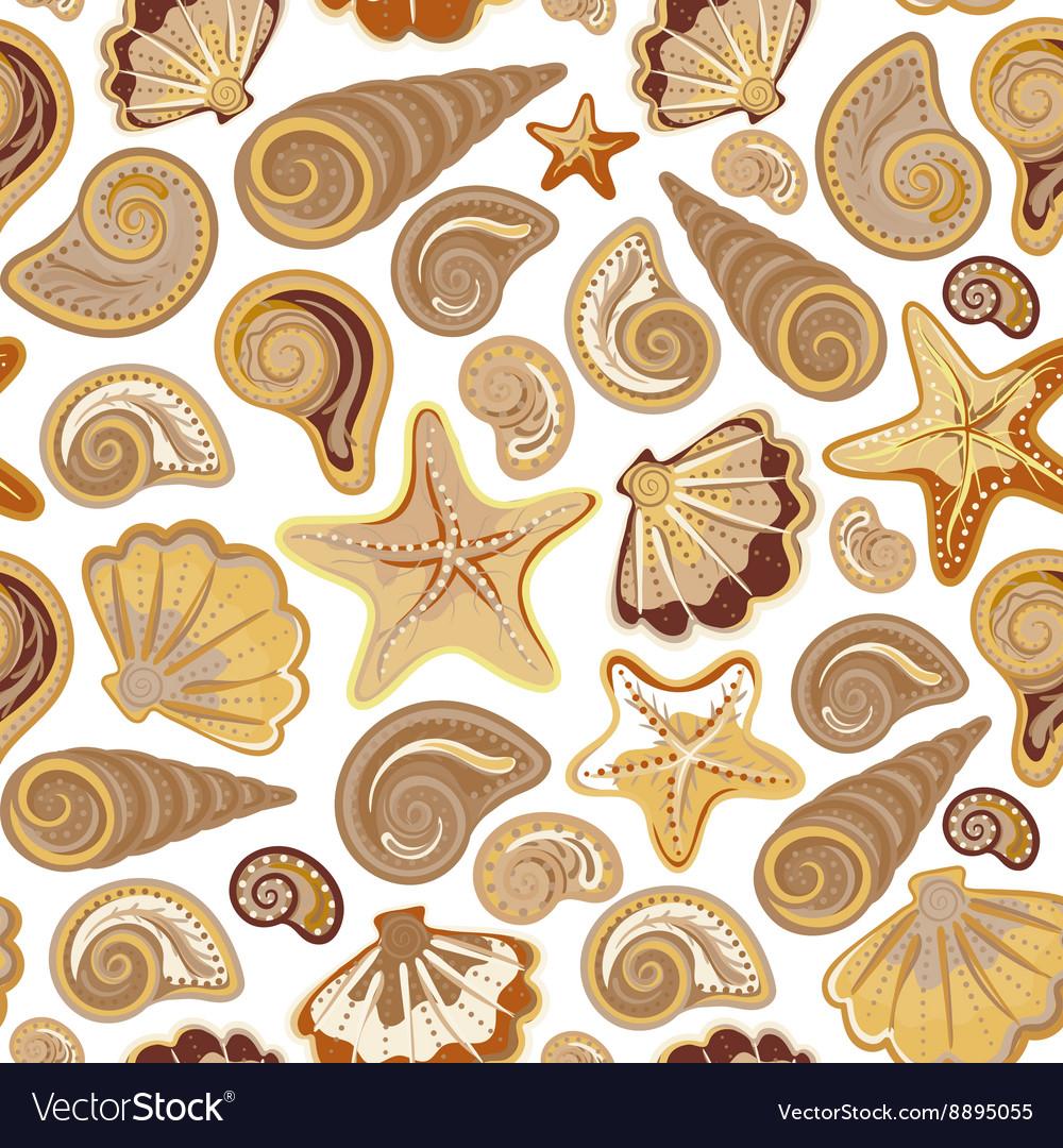 Graphic pattern with seashells sea stars Hand