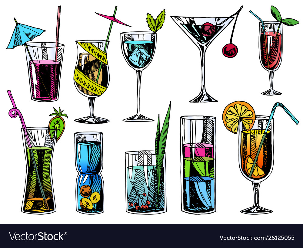 Hand drawn cocktails vintage glasses with liquors