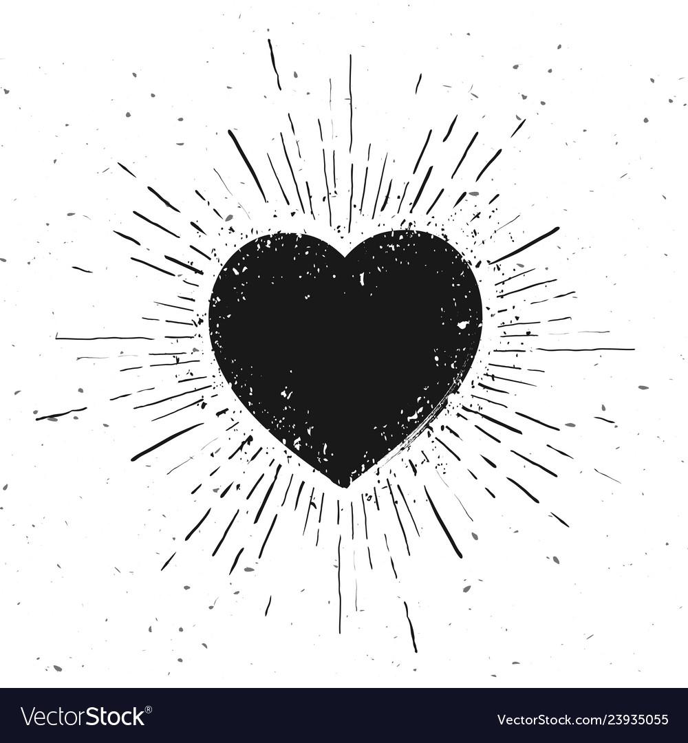 Handdrawn heart symbol icon on grunge background