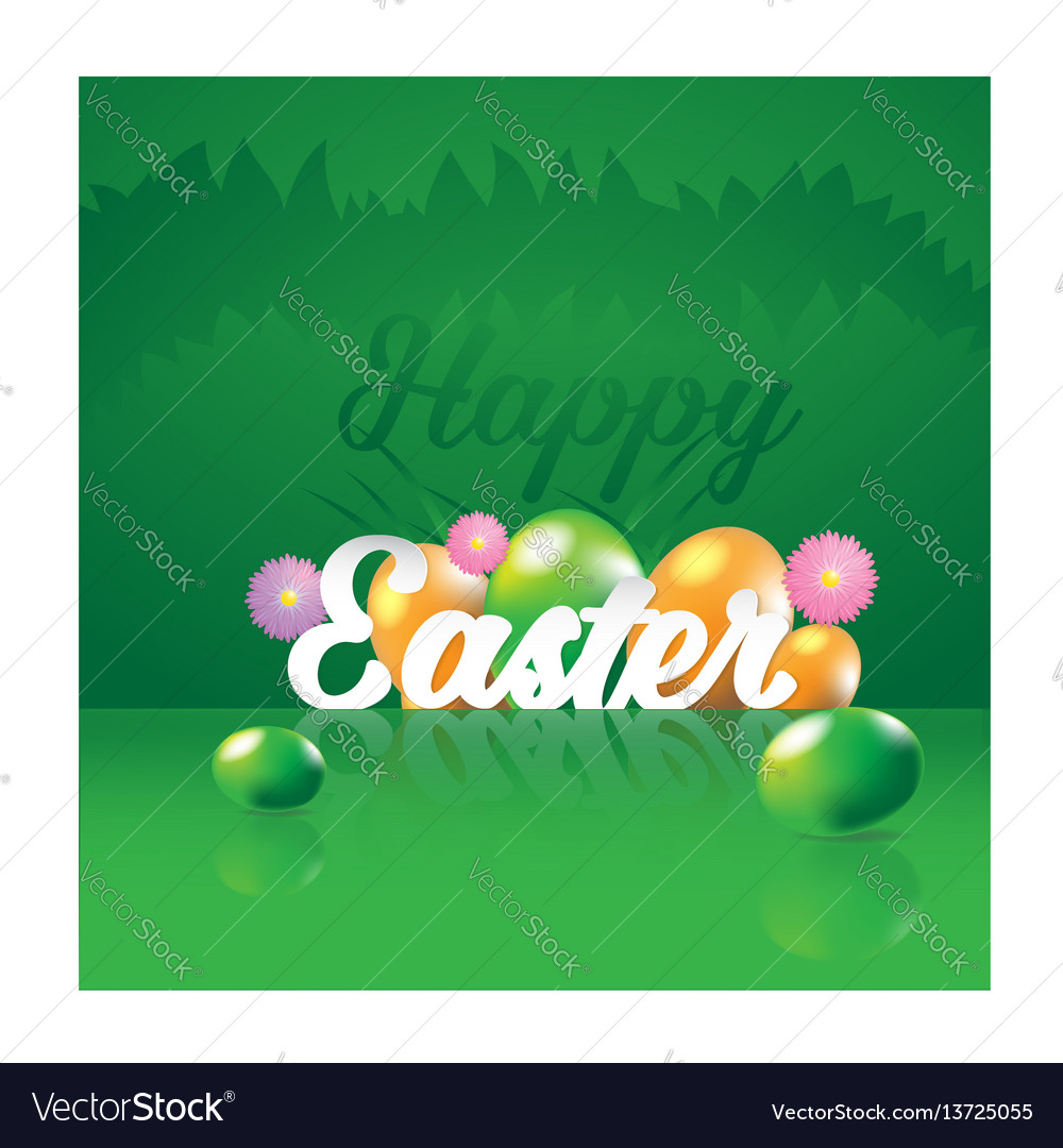 Happy easter greeting card with eggs vector image