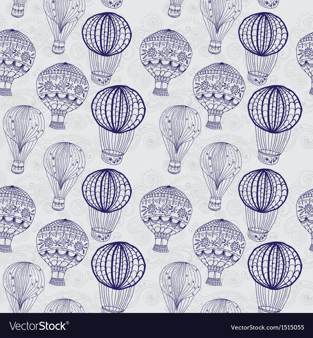 Hot air balloon in sky seamless background