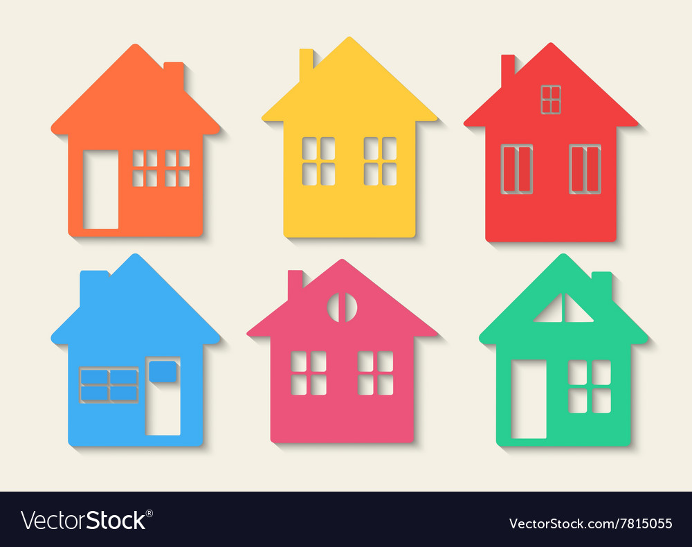 Houses icons set Real estate Colourful home icon