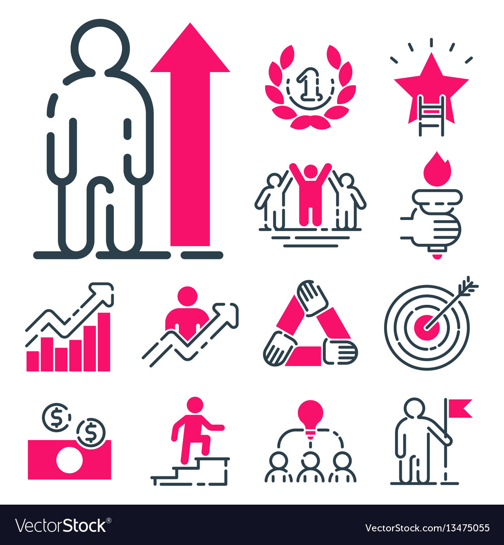 Motivation concept chart pink icon business