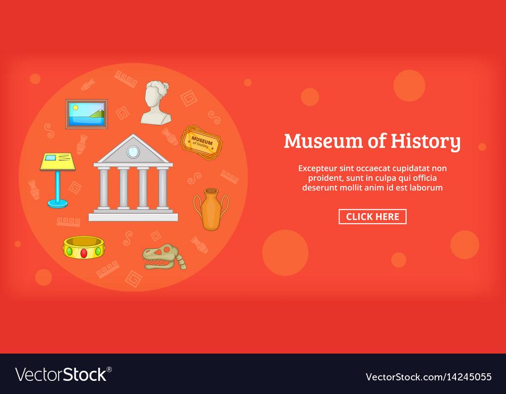 Museum banner horizontal cartoon style