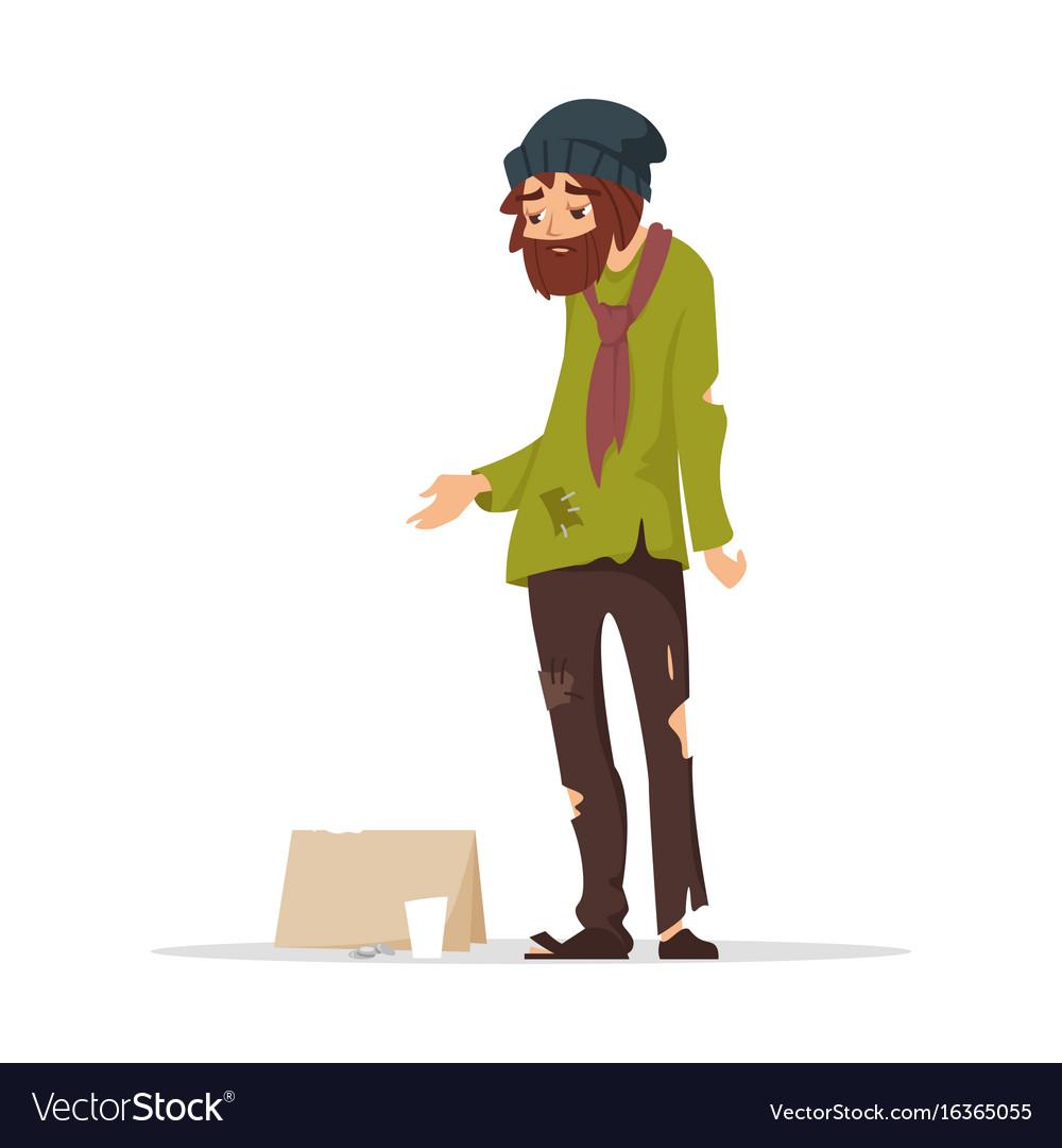 Poor man in torn clothes begging money