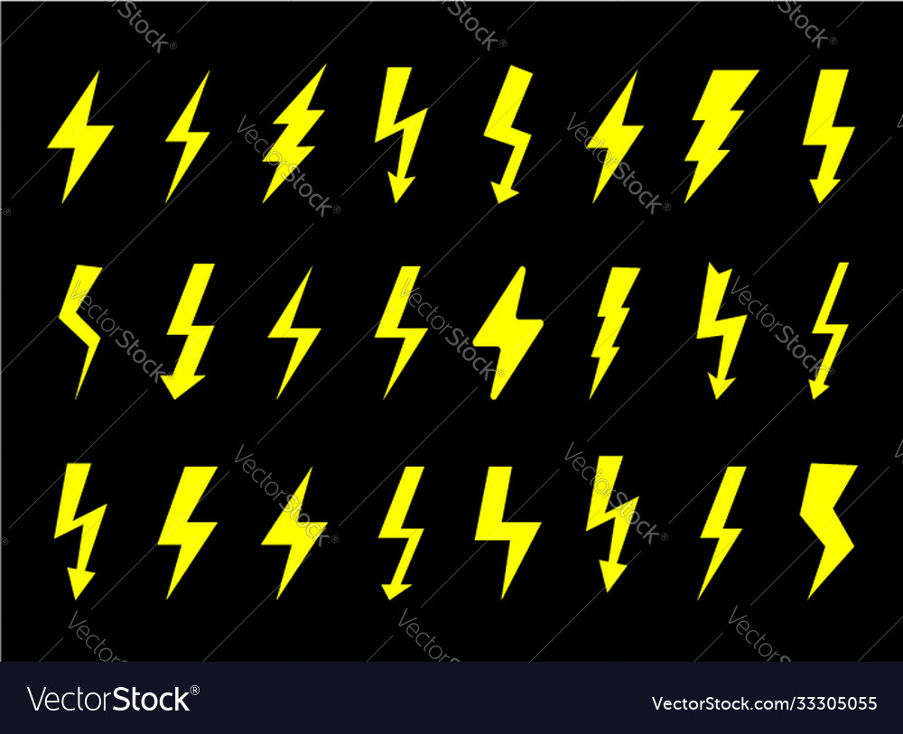 Set electrical icons sign lightning danger