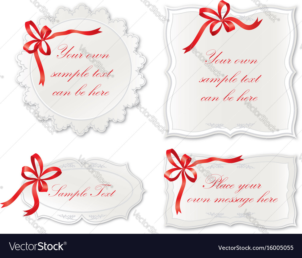 Set of cute frame with bow ribbon holiday card vector image