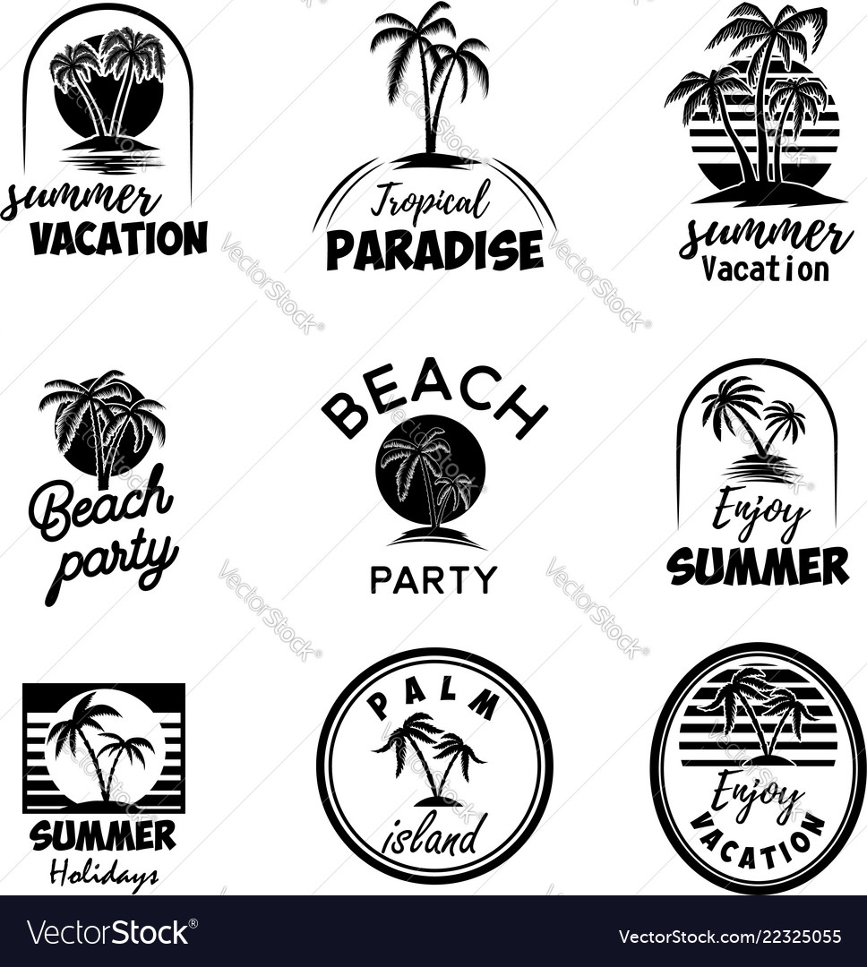 Set of summer emblems with palms for emblem sign