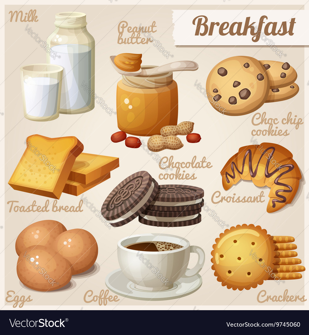 Breakfast 3 Set of cartoon food icons