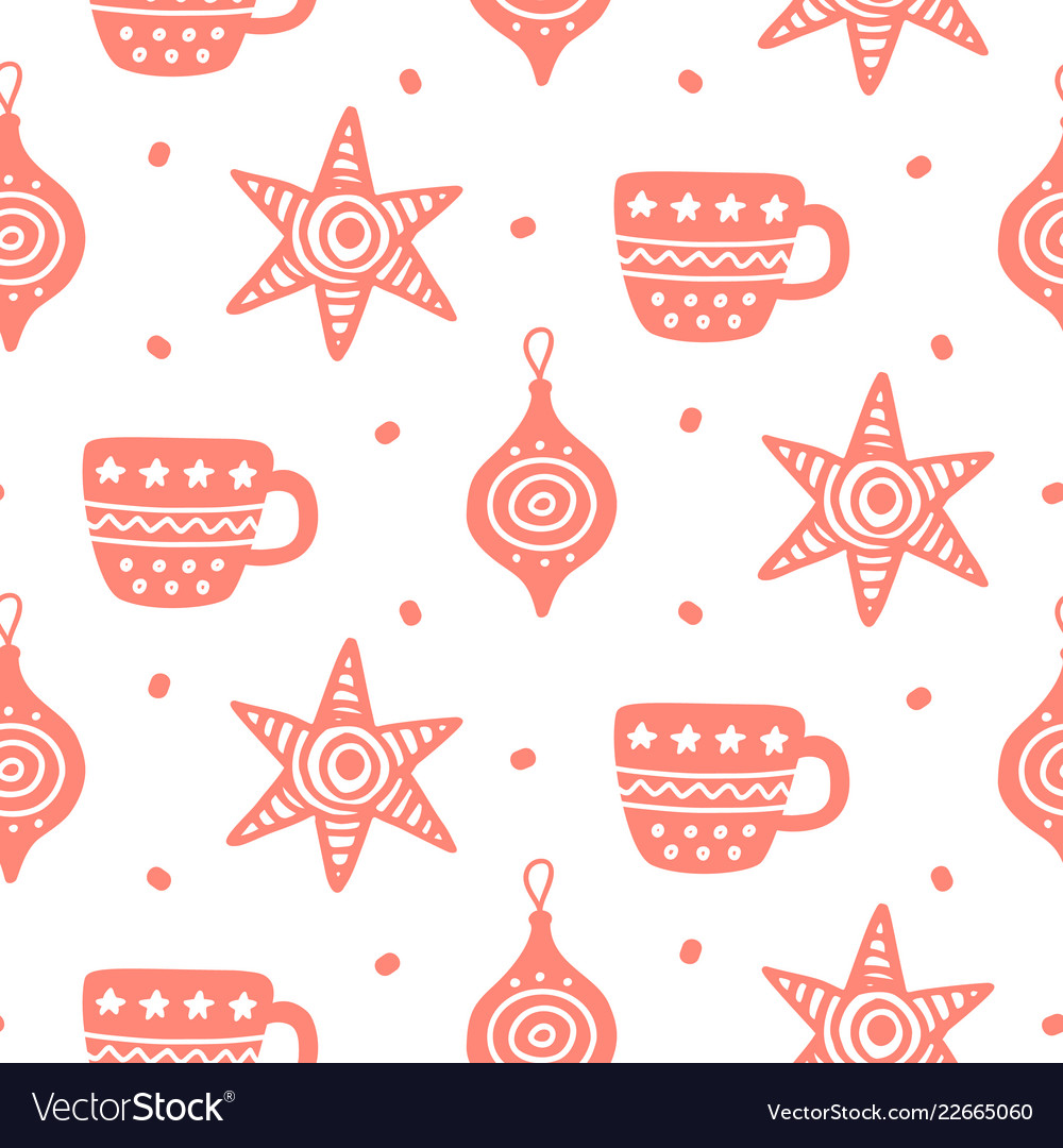 Christmas doodles seamless pattern