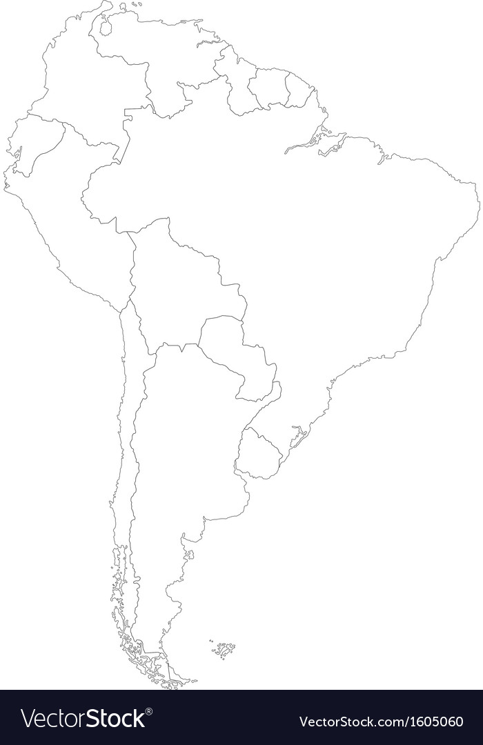 Contour South America Map Royalty Free Vector Image