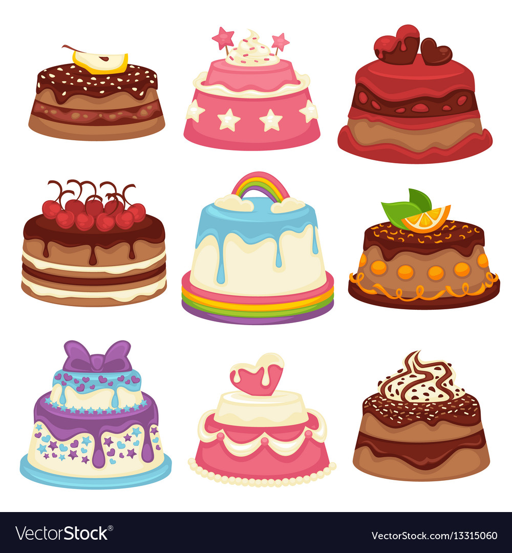 Decorated sweet festival cakes collection isolated vector image