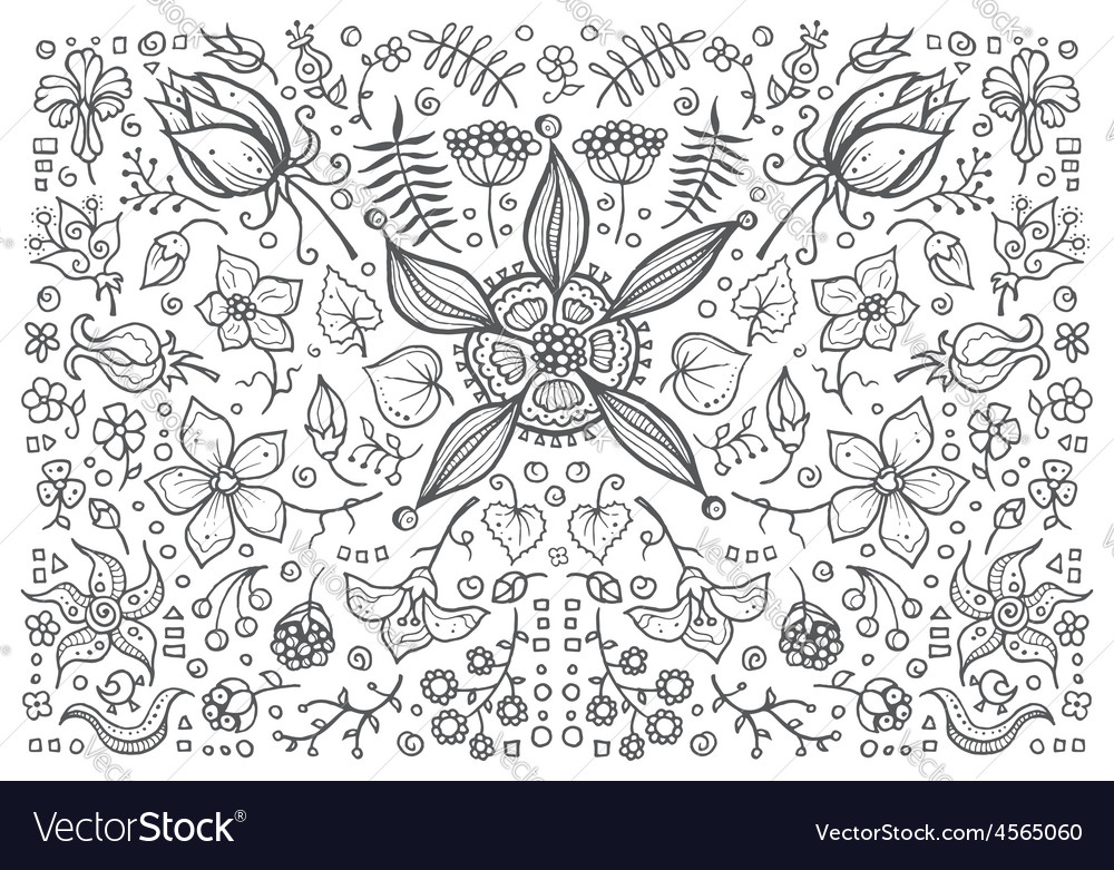 Hand drawn vintage floral retro