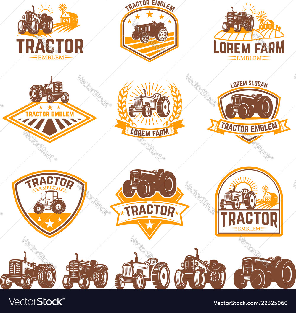 Set of tractor emblems farmers market design