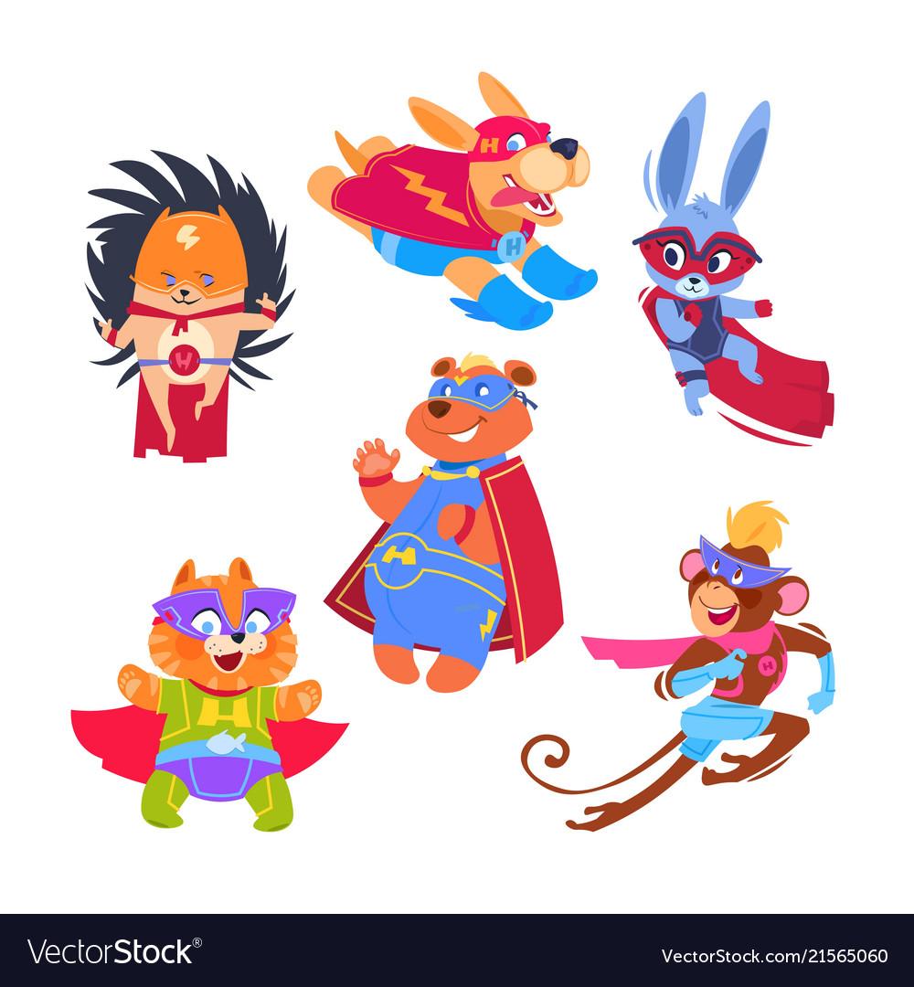 Superhero animal kids funny animals wearing