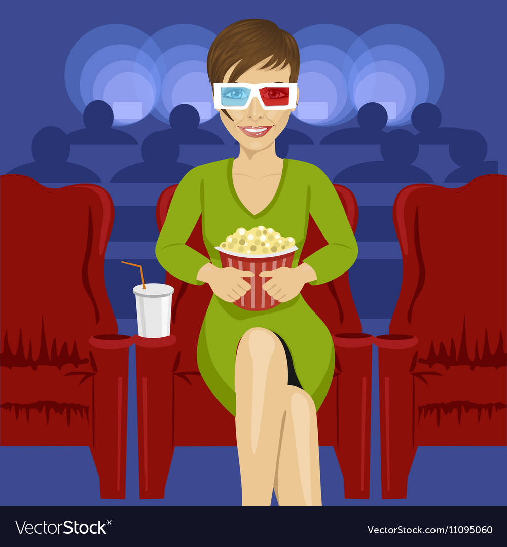 Woman sitting with popcorn in movie theater vector image