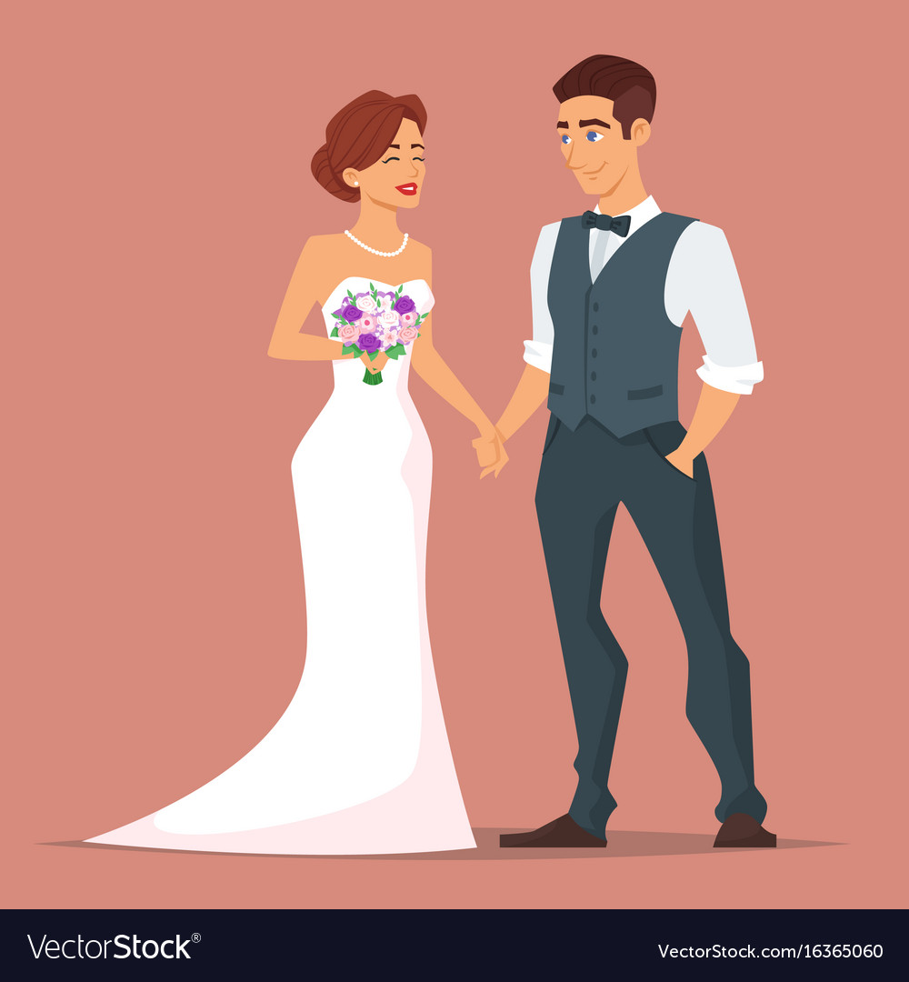 Young happy newlyweds bride and groom vector image