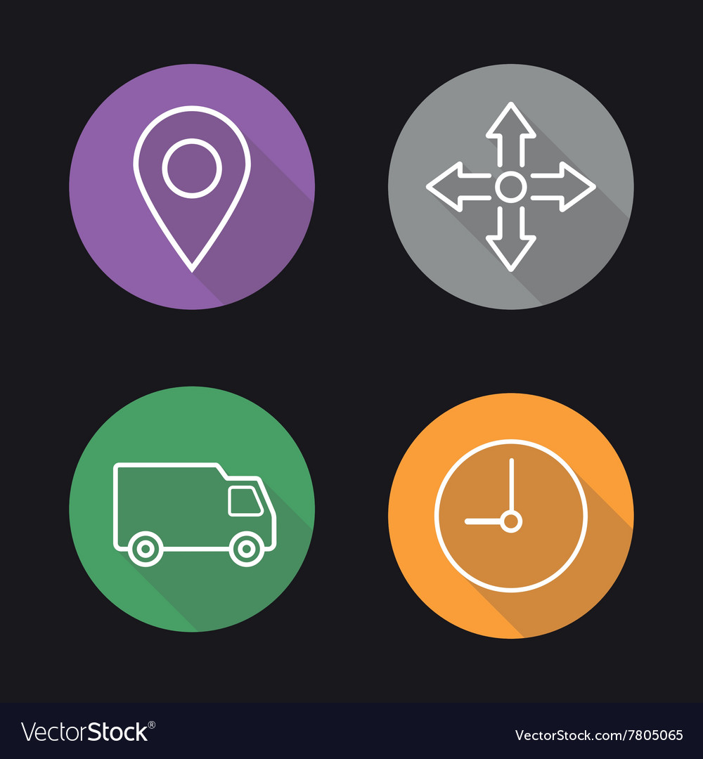 Delivery service flat linear icons set