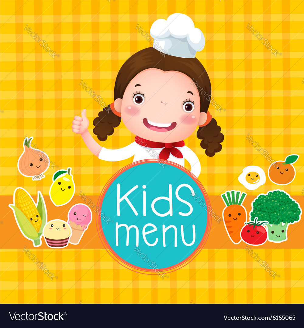 Design of kids menu with smiling girl chef