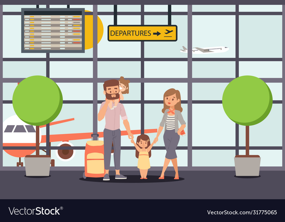 Family go on vacation airport departure