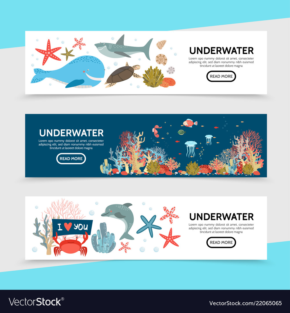 Flat sea life horizontal banners