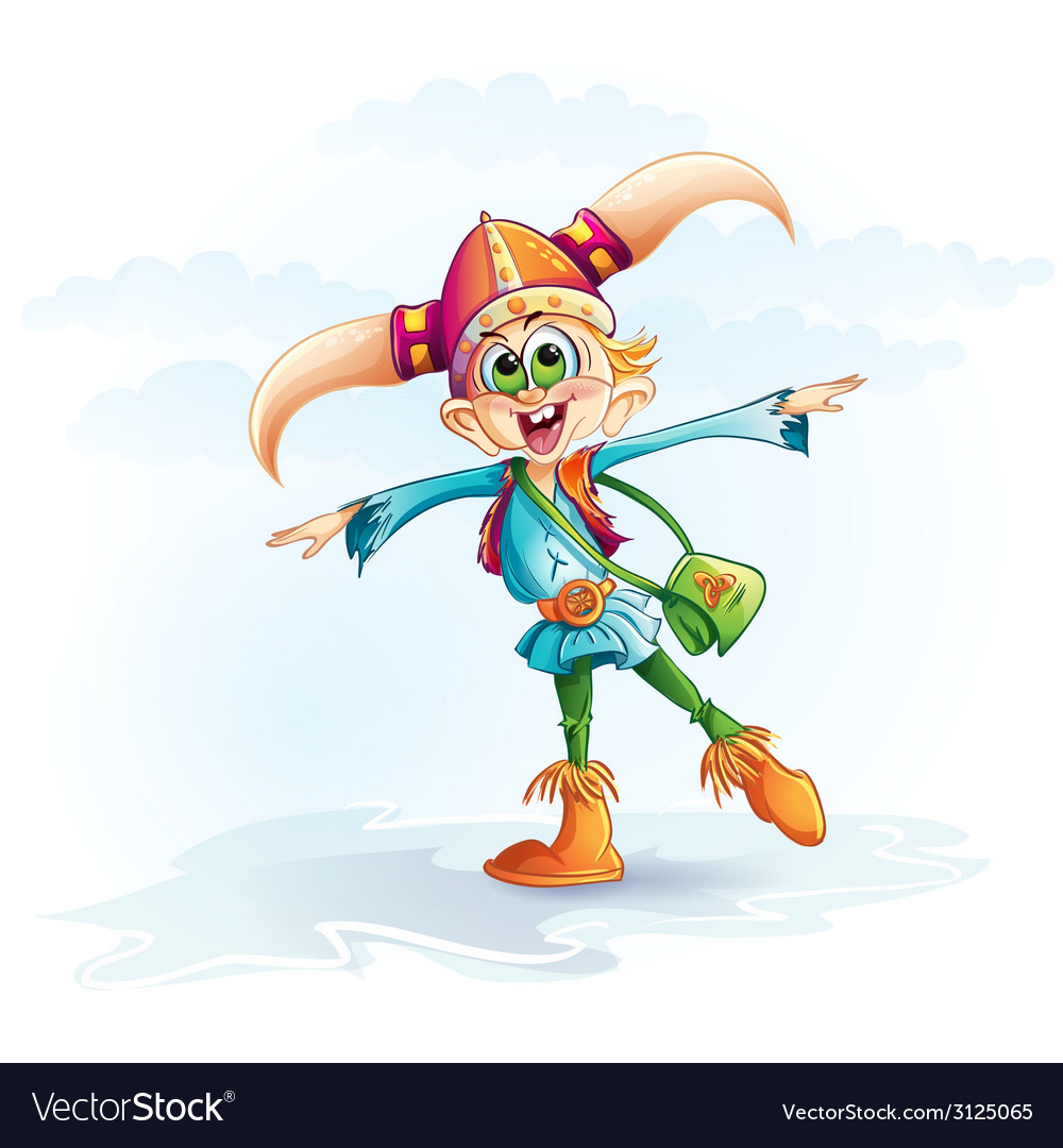 Funny Image Of A Viking Boy Royalty Free Vector Image