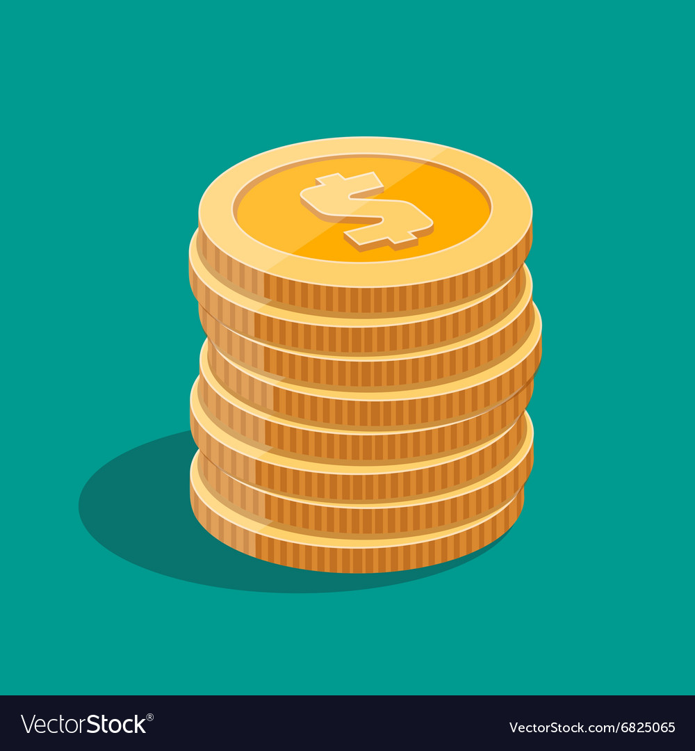Gold stack of dollar coins