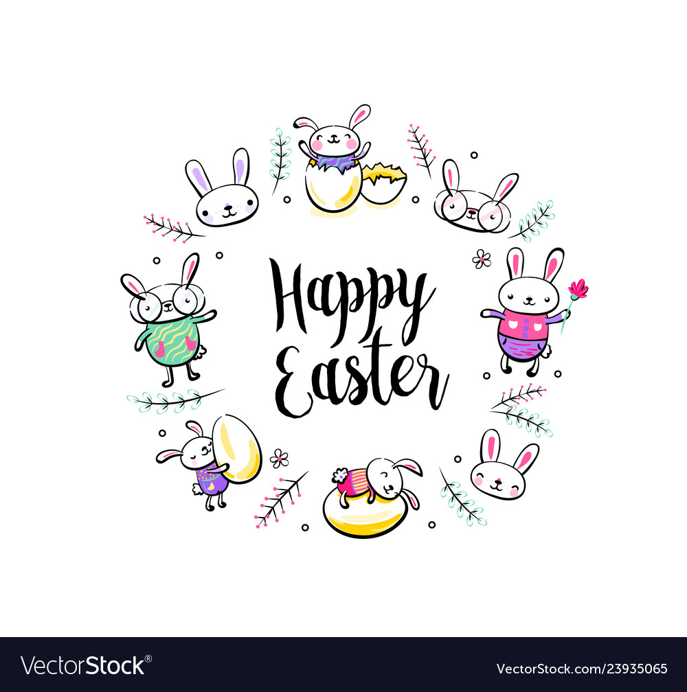Happy easter greeting card poster with cute